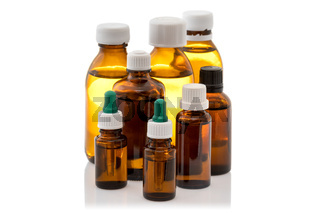 Group of glass bottles with medicine