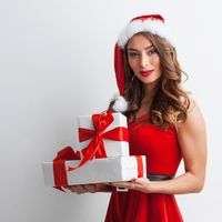 Woman with Christmas gifts