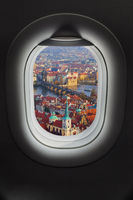Prague Czech Republic in airplane window