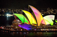 Sydney Opera House illuminated in colour