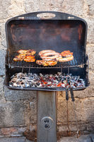 Barbecue with filet steak meat on a charcoal grill. Grilled food concept.