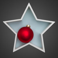 Christmas decoration white star with red glass ball inside