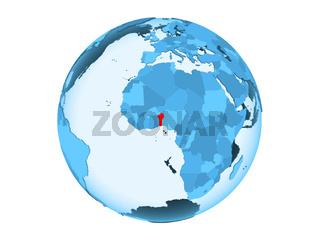 Benin on blue globe isolated