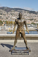 The statue of Cristiano Ronaldo in front of the entry to the Museum CR 7 in Funchal on Madeira, Portugal.