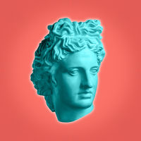 Modern conceptual art poster with ancient statue of bust of Apollo. Collage of contemporary art.