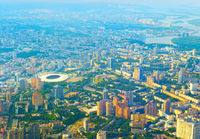 Aerial view skyline Kiev Ukraine