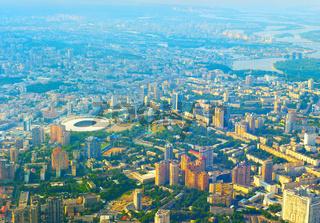 Aerial view skyline Kiev Ukraine