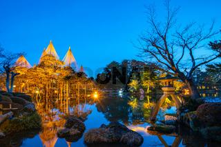 Winter light up in Kenrokuen Garden at night in Kanazawa, Japan