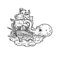 Kraken Attacking Sailing Ship Doodle Art