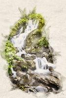 Watercolor small waterfall