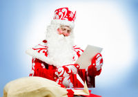 Santa Claus on blue background. Ded moroz