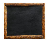 Black chalkboard sign with  wooden log border frame