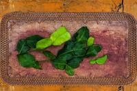 Kaffir lime leaves from above.