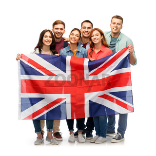 group of smiling friends with british flag