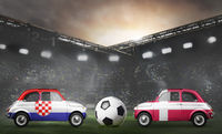 Croatia and Denmark cars on football stadium
