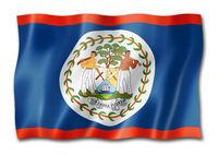 Belize flag isolated on white