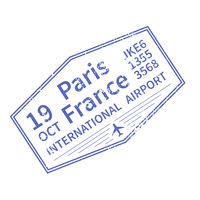 Paris International travel visa stamp on white. Arrival sign purple rubber stamp with texture