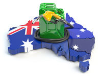 Gasoline and petrol consumption and production in Australia. Map of Australia with jerrycan and gas pump nozzle.