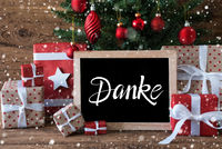 Christmas Tree, Gift, Text Danke Means Thank You, Ball, Snowflakes