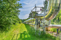 Large metal gas pipeline transports gas