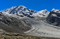 Gipfel Liskamm, Zwillinge Castor und Pollux und Grenzgletscher, Zermatt, Wallis, Schweiz