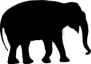 Silhouette large African elephant on a white background