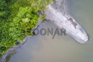 old boat ramp on Missouri River - aerial view