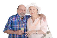 Portrait of senior couple taking a drink