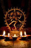 Shiva Nataraja with Diwali lights