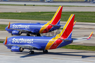 Southwest Airlines Boeing 737-700 airplanes San Jose airport