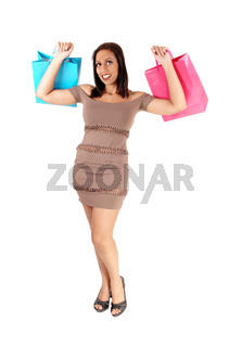 Pretty woman in dress holding her shopping bags
