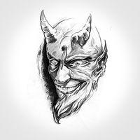 devil, handmade tattoo drawing