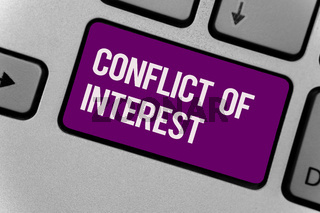 Text sign showing Conflict Of Interest. Conceptual photo disagreeing with someone about goals or targets Keyboard key office typing class work click assign button computer program.