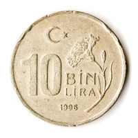 Old Turkish Coin on White Background, 10000 TL, 1996