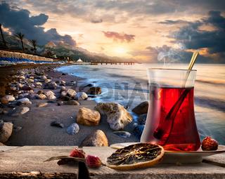 Turkish tea and sea