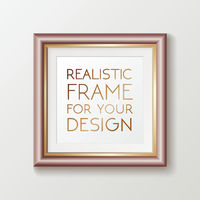 Realistic square gold frame template, frame on the wall mockup with decorative borders