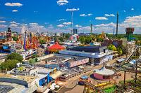 Prater amusement park in Vienna aerial view