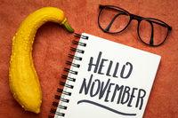 Hello November  handwriting in notebook