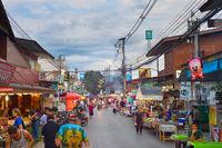 People walking street Pai Thailand