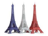 Three Eiffel Towerin colors of flag of France isolated on a white background.