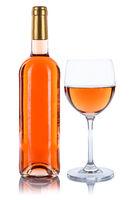 Weinflasche Weinglas Wein Flasche Glas Rosewein Rose Alkohol freigestellt Freisteller