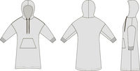 Fashion technical sketch of long smock in vector graphic