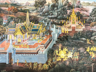 Old stories about Buddha painted at the wall in the Wat Phra Kaew in Bangkok