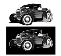 Cartoon retro hot rod isolated black and white