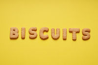 biscuits word spelled out with biscuit letters or characters