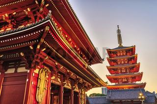 Tokyo Japan, sunset city skyline at Asakusa Temple (Senso-Ji)