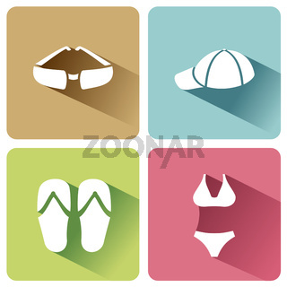 Summer clothes icons with shadow on a white background