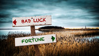 Street Sign Fortune versus Bad Luck