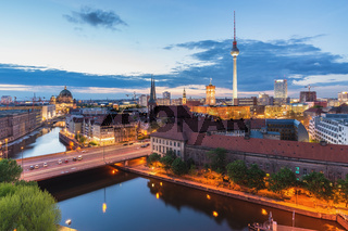 Berlin Germany, high angle view sunset city skyline at Spree River