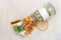 Money jar with blank label